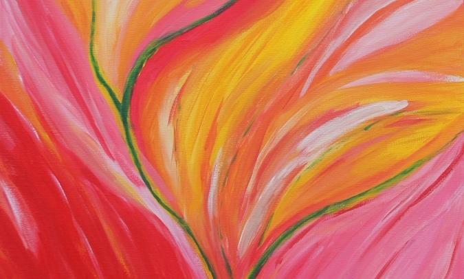 kunst lisa bloemen, intuïtief schilderen